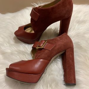 Michael Kors Eleni Platform Leather Brick Size 7.5